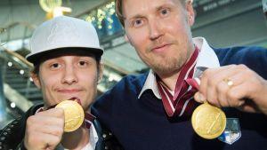 Yhdessä taas: Riian MM-kisoissa 2016 kultaa juhlineet Peter Kotilainen ja Mika Kohonen edustavat molemmat ensi kaudella Happeeta.