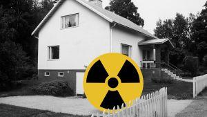 Mustavalkoinen kuva talosta ja sen edessä säteilyä kuvaava symboli.