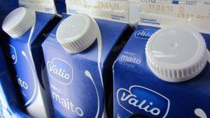 Valion maitotölkkejä, joissa on kierrekorkki.
