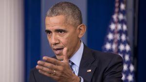Presidentti Obama tiedotustilaisuudessa 16.12.2016.