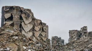 Talojen raunioita Aleppossa
