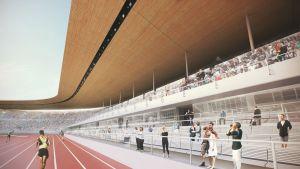Havainnekuva uudistetusta Olympiastadionista.