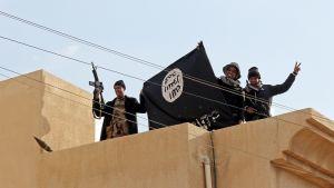sotilaat näyttävät lippua talon katolla