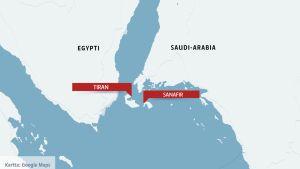 Kartta, johon on merkitty Egypti ja Saudi-Arabia.