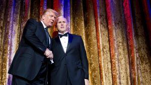 Yhdysvaltain tuleva presidentti Donald Trump ja hänen tuleva varapresidenttinsä Mike Pence.
