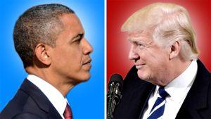 Barack Obama ja Donald Trump katsovat kollaasikuvassa toisiaan.