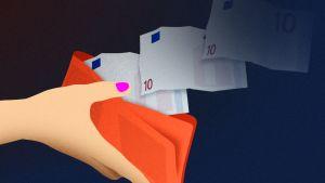 Kuvituskuva jossa kädessä olevasta lompakosta lentää seteleitä.