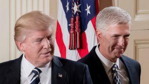 Kuvassa Trump ja Gorsuch vierekkäin tiedotustilaisuudessa 31.1. 2017. Naureskelevat ja ovat iloisen näköisiä.