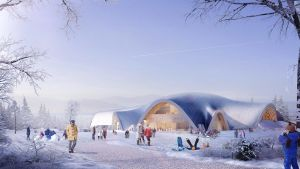 Havainnekuva vuonna 2014 arkkitehtikilpailun voittaneesta suunnitelmasta, jonka teki arkkitehti Eero Lundén.