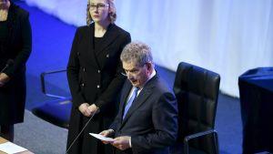 Presidentti Sauli Niinistö pitää avajaispuheen vuoden 2017 valtiopäivien avajaisissa Finlandia-talon Finlandia-salissa Helsingissä 2. helmikuuta 2017.