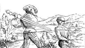 Piirros polvillaan olevasta ritarista, jotka toinen ritari on lyömäisillään pään irti miekalla.