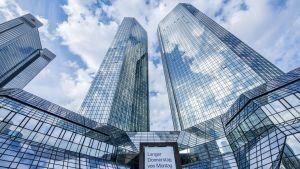 Deutsche Bankin tornit kuvattuna yhtiön tiedotustilaisuuden aikaan Frankfurt am Mainissa Saksassa 2. helmikuuta 2017.
