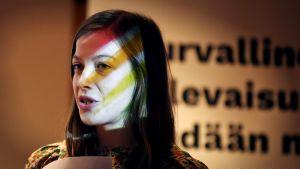Vasemmistoliiton puoluejohtaja Li Andersson Vasemmisto kuntavaaleissa -tiedotustilaisuudessa Helsingissä perjantaina 3. helmikuuta