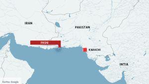 Pakistanin kartta, johon on merkitty kohta Pasnin edustalla, jossa järistys tapahtui.