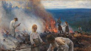 Kuvassa Eero Järnefeltin teos Kaski eli Raatajat rahanalaiset