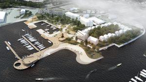 Paraisten rantaan tulee korkeatasoinen venesatama, tasokas uimaranta sekä mm. uusi hotelli. Schauman & Nordgren Architects ja Schauman Arkkitehdit.