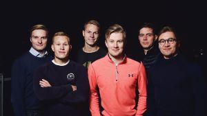 Wave Ventures-rahaston perustajat Andreas Saari, Anton Backman, Eero Vartiainen, Henri Hyvärinen, Janne Korpela ja Olli Rissanen yhteiskuvassa.