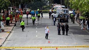 Kolumbian poliisi tutkii räjähdysaluetta Bogotássa, Kolumbiassa 19. helmikuuta 2017.