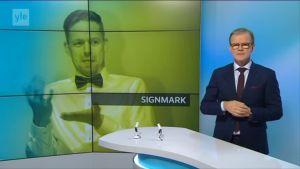 Kuvakaappaus Signmarkista kertovasta uutisesta Viikko viitottuna -lähetyksestä.