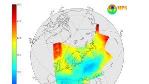Satelliitin välittämä kuva otsonikerroksesta tiistaina 21.02.2017.