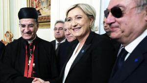 Ranskan Kansallisen rintaman johtaja ja presidenttiehdokas Marine Le Pen vierailulla Libanonissa 21. helmikuuta.