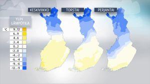 Sääennuste lämpötiloille 1. - 3. maaliskuuta.
