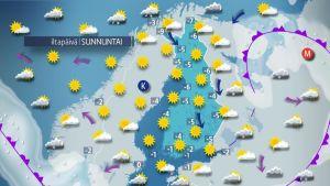 5.2.2017 sunnuntain sääkartta