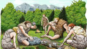 Piirroskuva viidestä nahkoihin pukeutuneesta ihmisestä ruokailemassa sienillä ja pinjansiemenillä.