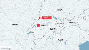 Kartta, johon on merkitty Sveitsissä Basel ja Bern, sekä ympäröivät maat Saksa, Ranska, Italia, Itävalta ja Liechtenstein.