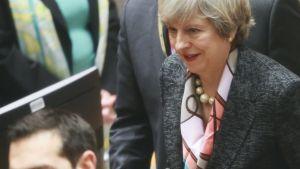 Britannian pääministeri Theresa May osallistui EU:n huippukokoukseen Brysselissa 9. maaliskuuta 2017.