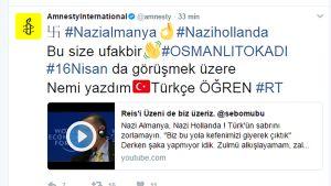 Kuvakaappaus Amnesty Internationalin Twitter-tililtä.