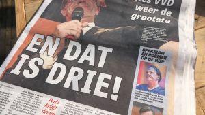 De Telegraaf -lehti otsikoi Mark Rutten pääsystä kolmannelle kaudelle pääministerinä.