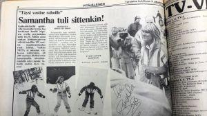 Kuva Pitäjäläinen-lehden Samantha Foxin vierailusta kertovasta jutusta vuodelta 1987.