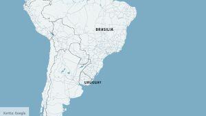 Kartta, johon on merkitty Brasilia ja Uruguay.