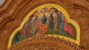 Liisa Tynkkysen maalaama ikoni Imatran pyhän Nikolaoksen kirkossa