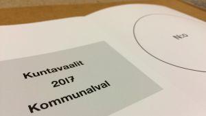 Kuntavaalien 2017 tyhjä äänestyslippu