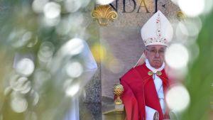 Paavi Franciscus johtaa palmusunnuntain messua Pietarinkirkon aukiolla Vatikaanissa 9. huhtikuuta.