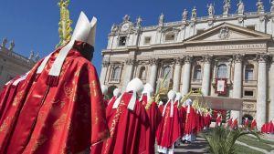 Kardinaalit osallistuivat palmusunnuntain messuun 9. huhtikuuta.