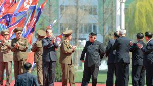 Diktaattoi Kim Jong-un osallistui pilvenpiirtäjärykelmän avajaisjuhlaan Pjongjanissa.