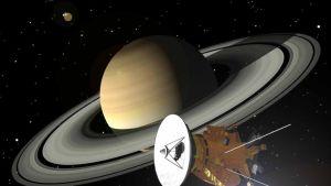 Piirroskuva luotaimesta lähestymässä Saturnusta.