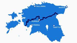 Kartta, jossa näkyy kuvernementtien rajaviiva