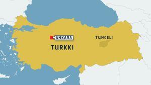 Turkin kartta, johon merkitty Ankara ja Tunceli.