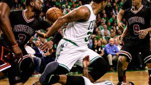 Chicago Bulls ja Boston Celtics vastakkain NBA:n pudotuspeleissä.