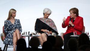 Ivanka Trump, Christine Lagardie ja Angela Merkel