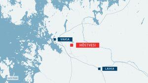 Onnettomuus tapahtui tasoristeyksessä Vaasan Höstvedellä.