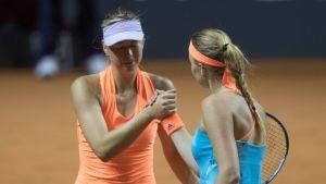Maria Sharapova (vas.) hävisi Ranskan Kristina Mladenovicille