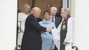 Donald Trump kävi St. Johnin kirkossa virkaanastujaispäivänään 20. tammikuuta.