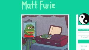 Kuvakaappaus mattfurie.tumblr.com -nettisivuilta Pepe the Frog -hahmon kuolemasta.