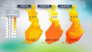 Lämpötilaennuste 18.-20.5.2017.