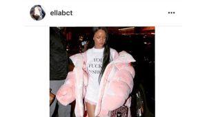 Ella Bouchtin suunnittelema takki Rihannan päällä.